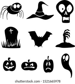 Halloween Icons Set with spider, bat, skull, headstone, zombie hand, jack o lanterns and a ghost