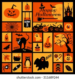 Halloween icons set. Vector Design elements for a holiday.