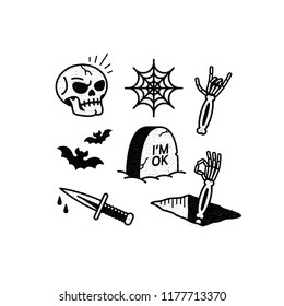 HALLOWEEN ICONS SKULL BATS SPIDERWEB TOMBSTONE DAGGER ROCK SIGN TEXTURE WHITE BACKGROUND