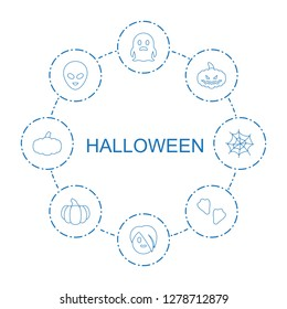 halloween icons. Trendy 8 halloween icons. Contain icons such as ghost, emo emot, pumpkin haloween, alien head, animal fang, pumpkin, spider web. halloween icon for web and mobile.
