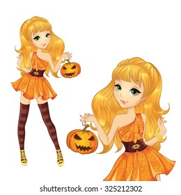 Halloween illustration. Beautiful blonde witch with pumpkin.
