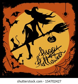 Halloween illustration with beautiful witch silhouette flying on the broom with cat