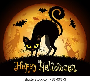 Halloween illustration with black cat on moon background. Check my portfolio for raster version.