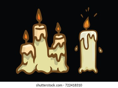 Halloween illustration of candles on black background