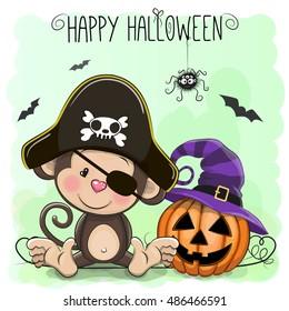 Halloween illustration of Cartoon Duck in a Monkey hat and pumpkin