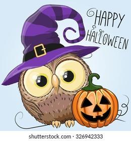 Halloween illustration of Cartoon Owl with pumpkin on a blue background