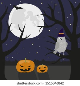 Halloween illustration in cartoon style. Mysterious  and scary landscape - night, dark forest, owl, pumpkin, moon..Can be used for greeting card, poster, invitation, banner, flyer, post in social web.