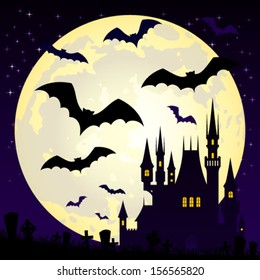 Halloween illustration with castle and bats on full moon background