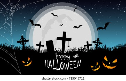 Halloween illustration with cemetery, bats, pumpkins and spider web background