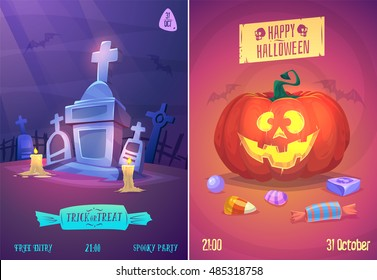 Halloween illustration cemetery with candles, pumpkin face and sweets . Vector set of happy halloween vintage badges, logos emblems and labels. Vector stock illustration.