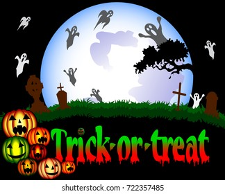 Halloween illustration with a cemetery, ghosts and pumpkins in the background of the moon. Vector illustration