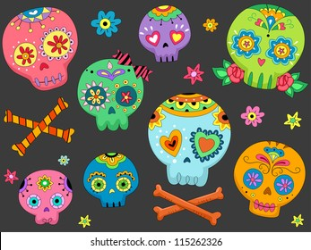 Halloween Illustration Featuring Colorful Sugar Skulls