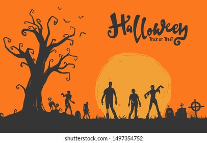 Halloween Illustration flat design for background, poster, greeting and invitation card, banner, and celebartion
