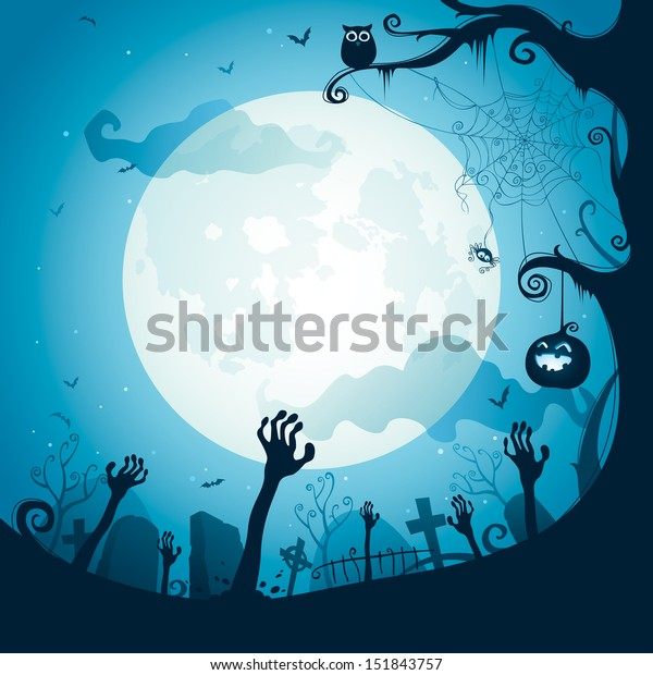 Halloween illustration - Graveyard
