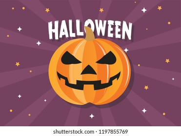 Halloween illustration of happy pumpkin with candies and banner. Halloween is a celebration observed in a number of countries on 31 October, the eve of the Western Christian feast of All Hallows' Day.