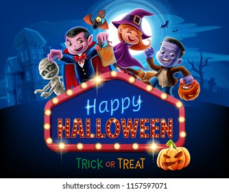 halloween illustration with kids