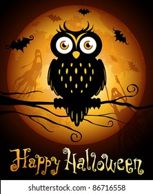 Halloween illustration owl silhouette on moon background. Check my portfolio for raster version.