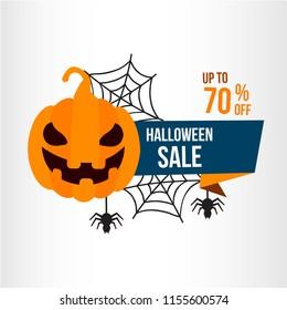 halloween illustration sale. autumn celebration. pumpkin and bat element. modern design.