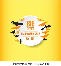 halloween illustration sale. autumn celebration. bat and circle element. buy one get one. modern design.