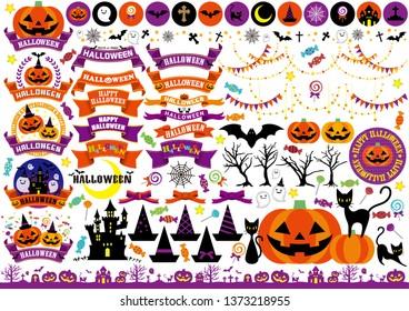 Halloween illustration set