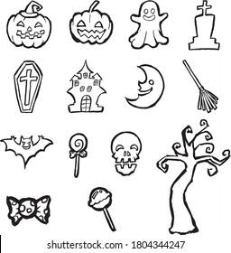 Halloween illustration set drawn with a brush.