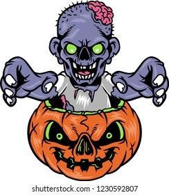 A Halloween illustration that shows a creepy zombie. The brain of the zombie is hanging out. The Halloween pumpkin looks frightening and full of anger. They're celebrating the spirit of death.