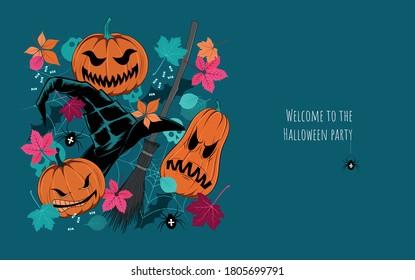 Halloween illustration. Vector image of pumpkins, leaves, skulls, spiders, fishing boats, witch hats. Design elements for postcard, flyer, banner, background.