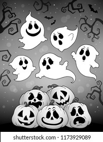 Halloween image with ghosts theme 6 - eps10 vector illustration.