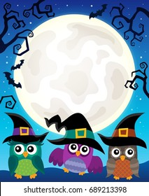 Halloween image with owls theme 4 - eps10 vector illustration.