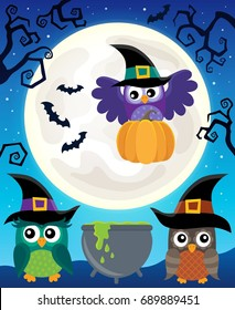 Halloween image with owls theme 5 - eps10 vector illustration.