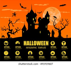 Halloween infographic template. Design with scarecrow, tree and old castle. Isolated icon set. Vector illustration