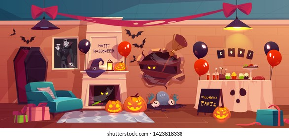 Halloween interior for party celebration, empty scary vampire room, table with treat, pumpkins, fireplace, balloons, coffin, spiderweb and witch accessories, happy holiday Cartoon vector illustration