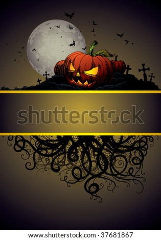 Halloween Invitation Or Background With Castle Bats And Pumpkin