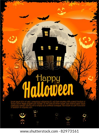 Halloween Invitation Background With A Haunted House