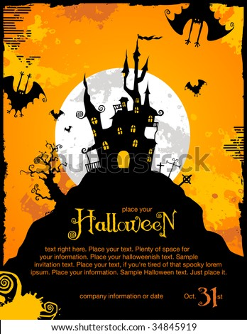 halloween invitation background spooky castle bats stock vector