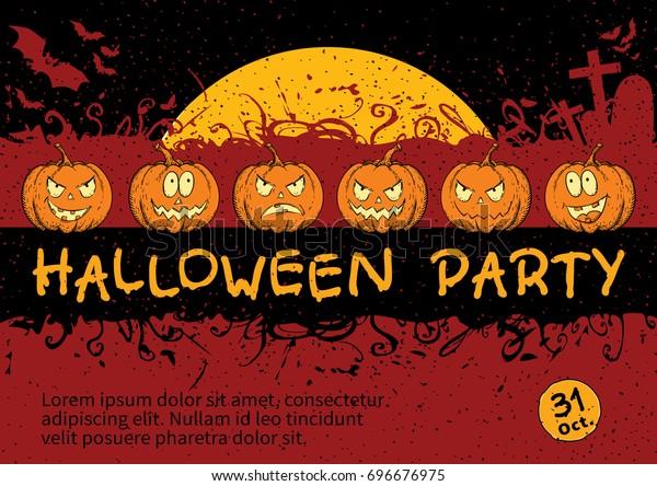 Halloween Invitation Card Design Vector Template Stock