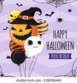 Halloween invitation card party design template. Halloween balloons on soft purple background. Pumpkin party balloon. Trick or Treat  banner create by vector.