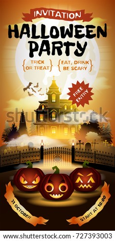Halloween Invitation With Free Entrance Pumpkins On Graveyard In Horror Moonlight Haunted Castle