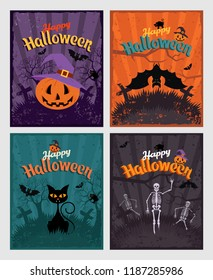 Halloween invitation or greeting Cards set. Set of retro vintage design elements and signs, lettering and characters. Bat and skeleton, pumpkin, black cat on the night background of the cemetery