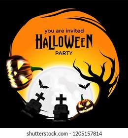 halloween invitation party illustration graveyard pumpkin stock