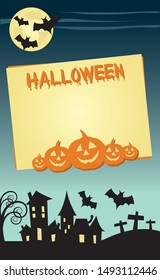 Halloween invitation poster or card illustration design