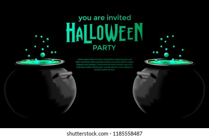 Halloween Invitation Template With Green Potion In The Pot For Banner Poster Label Landscape Style