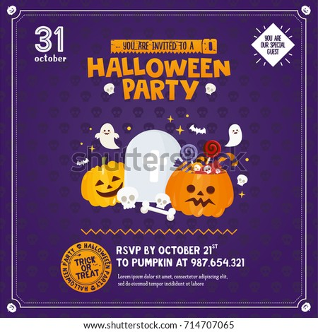 halloween invitation template pumpkin candy ghost stock vector