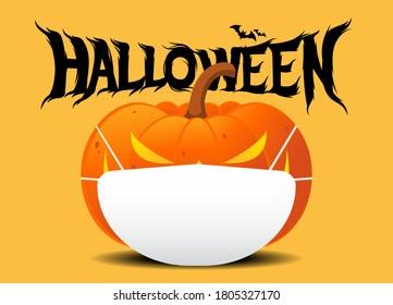 Halloween Jack O Lantern pumpkin wearing medical face mask on yellow color background. silhouette bat. corona virus or COVID-19. For Halloween 2020. vector illustration