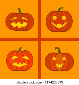 Halloween Jack-o-lanterns with different faces. A set of four elements. Funny vector flat icons. Stickers design.