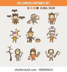 halloween kid costume character set