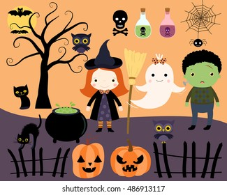 Halloween kids, black cats, a ghost, owls and a tree.