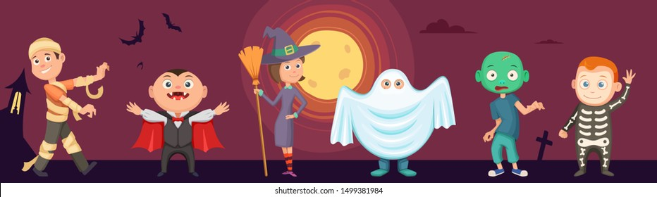 Halloween kids. Children wear scary party costumes. Zombie, vampire, witch and funny ghost