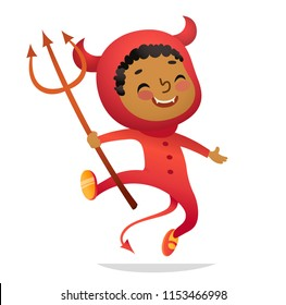 Halloween Kids Costume Party. African-American Boy in halloween devil costume laughing and dancing. Cartoon vector Character for party, invitations, web, mascot. Isolated