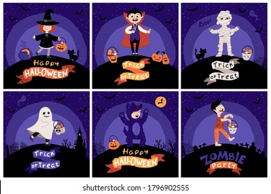 Halloween Kids Costume Party. Card set. Kids with buckets of sweets in various costumes for the holiday. Night sky background. Cute childish illustration in cartoon hand-drawn style. Lettering.